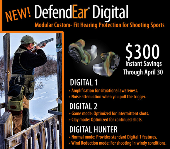 DefendEar Digital Hunter's Hearing Aid - $300 Instant Savings
