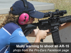 Molly learns to shoot an AR-15 - photo courtesy of the Pro-Ears Facebook fan page