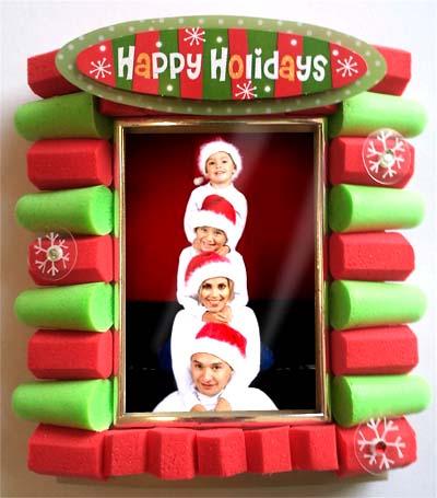 the finished earplug christmas photo frame
