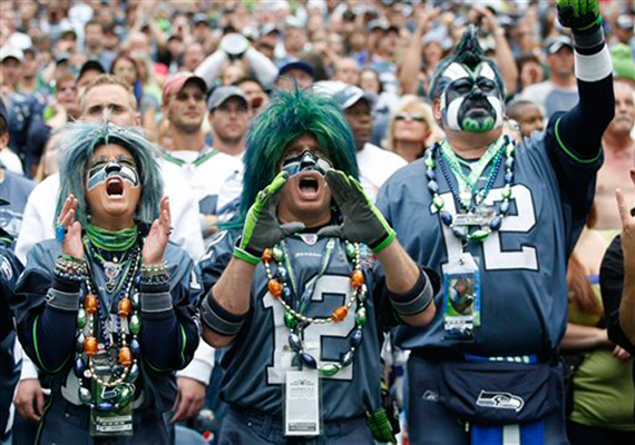 Seahawks fans are well-known for loud attire AND cheering
